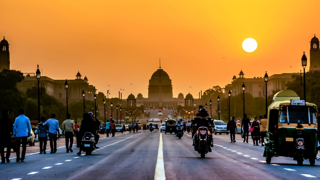 The Rashtrapati Bhavan during sunset time, Delhi, India