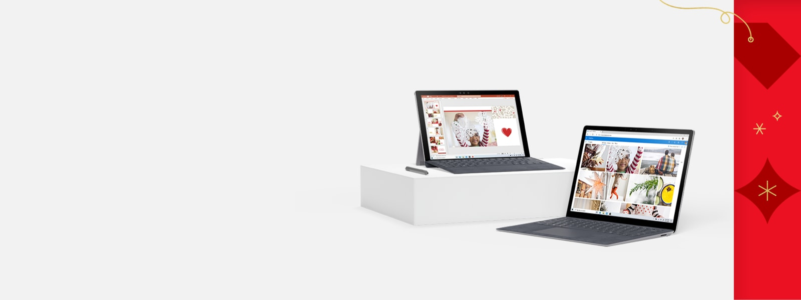 A Surface Pro 7 and Surface Laptop 3