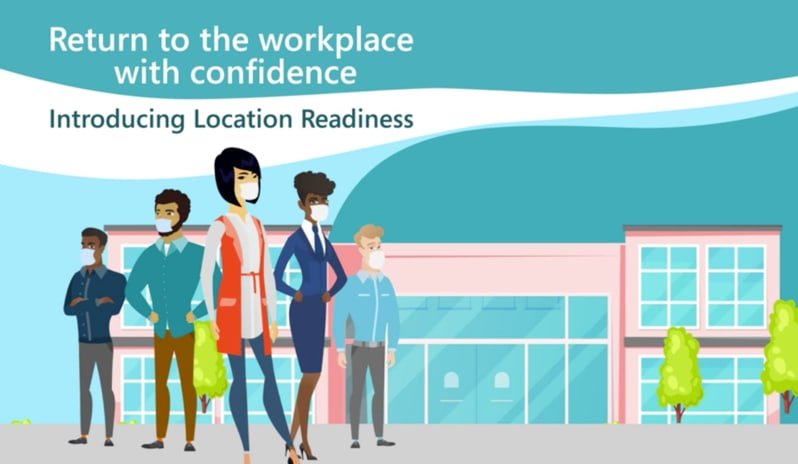 A colorful graphic of employees wearing masks in front of a street of office buildings and the words Introducing Location Readiness.