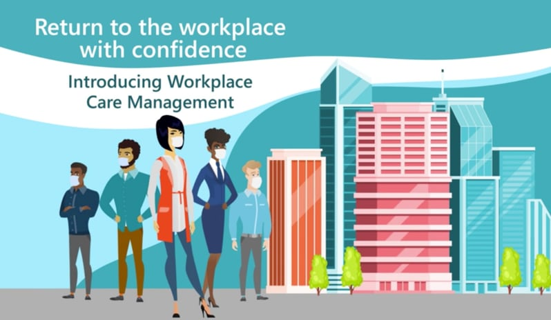 A colorful graphic of employees wearing masks in front of a cityscape and the words Introducing Workplace Care Management.