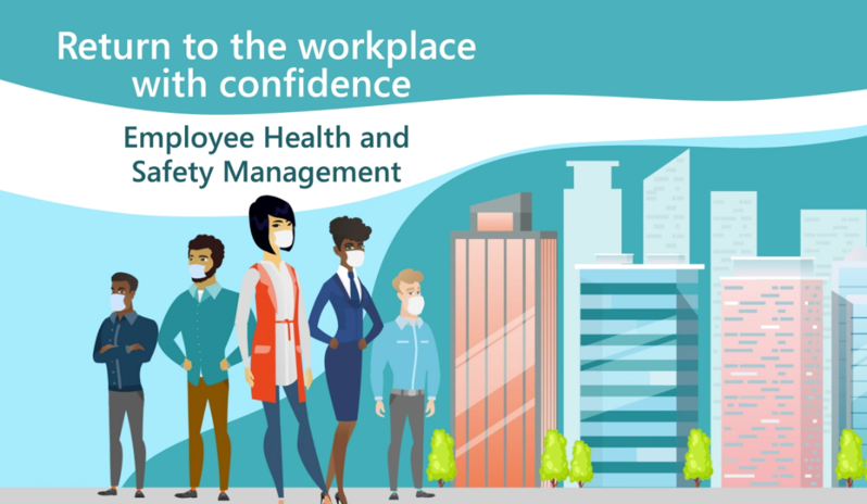 A colourful graphic of employees wearing masks in front of a cityscape and the words Employee Health and Safety Management.