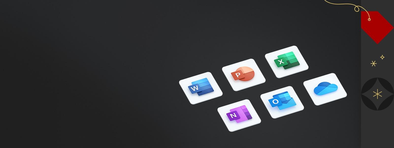 Iconos de aplicaciones Word, PowerPoint, Excel, OneNote, Outlook y OneDrive