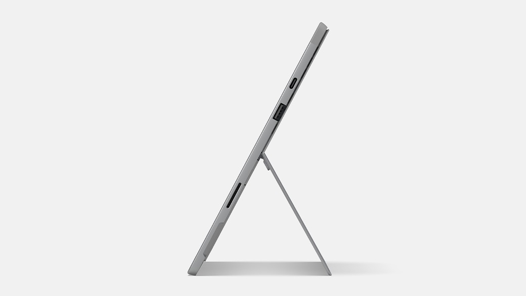 Surface Pro 7+ for Business propped up on kickstand.