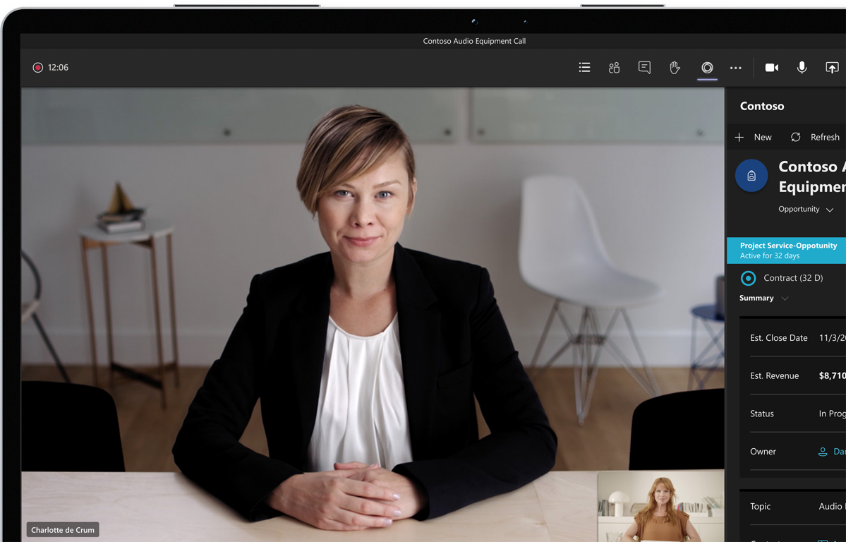 A video call on Teams between two people.