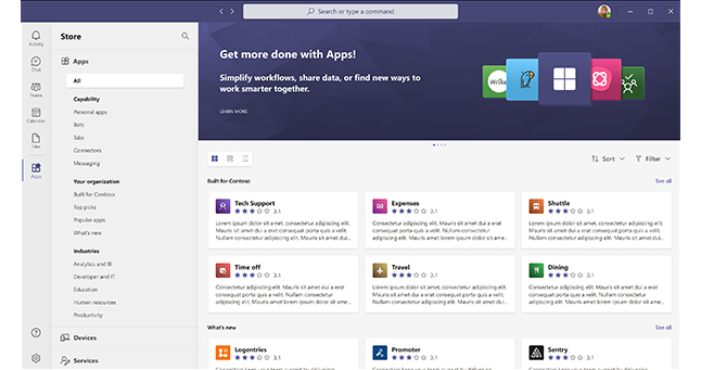 A screenshot of the ready to use apps in Microsoft Teams.