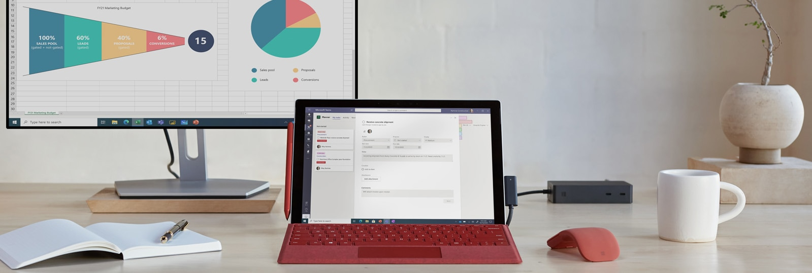 Surface Pro 7+ is shown on a home office desk with an external monitor and accessories