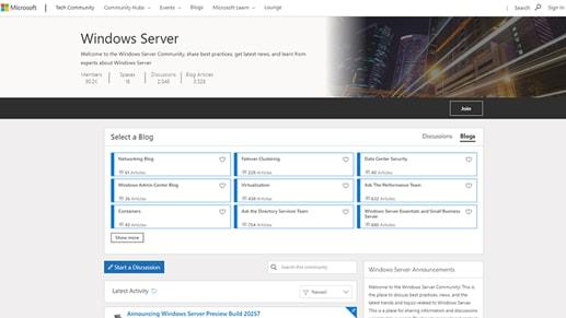 Windows Server blogs.