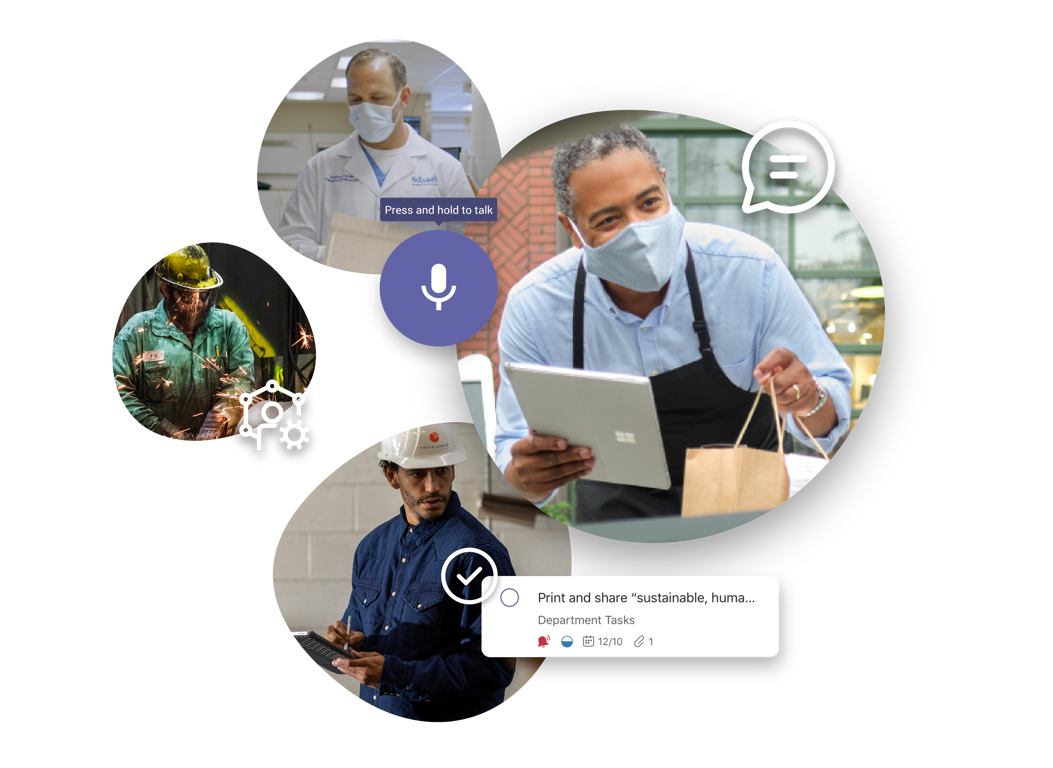 Firstline workers of varying professions using Teams for chat, voice, tasks and more.