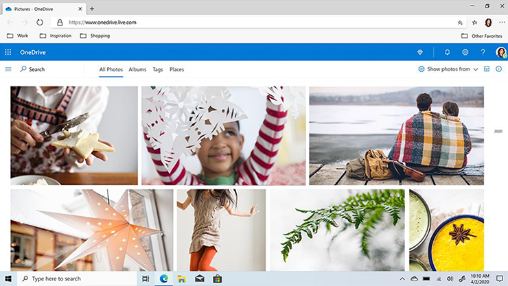 Microsoft Edge browser window showing photos in a OneDrive folder