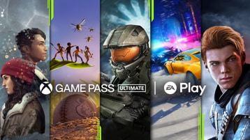 Xbox Game Pass and EA Play logos with various game art.