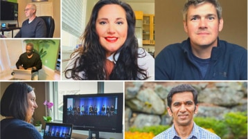 A collage of photos of Microsoft employees shown from their home offices and outside.