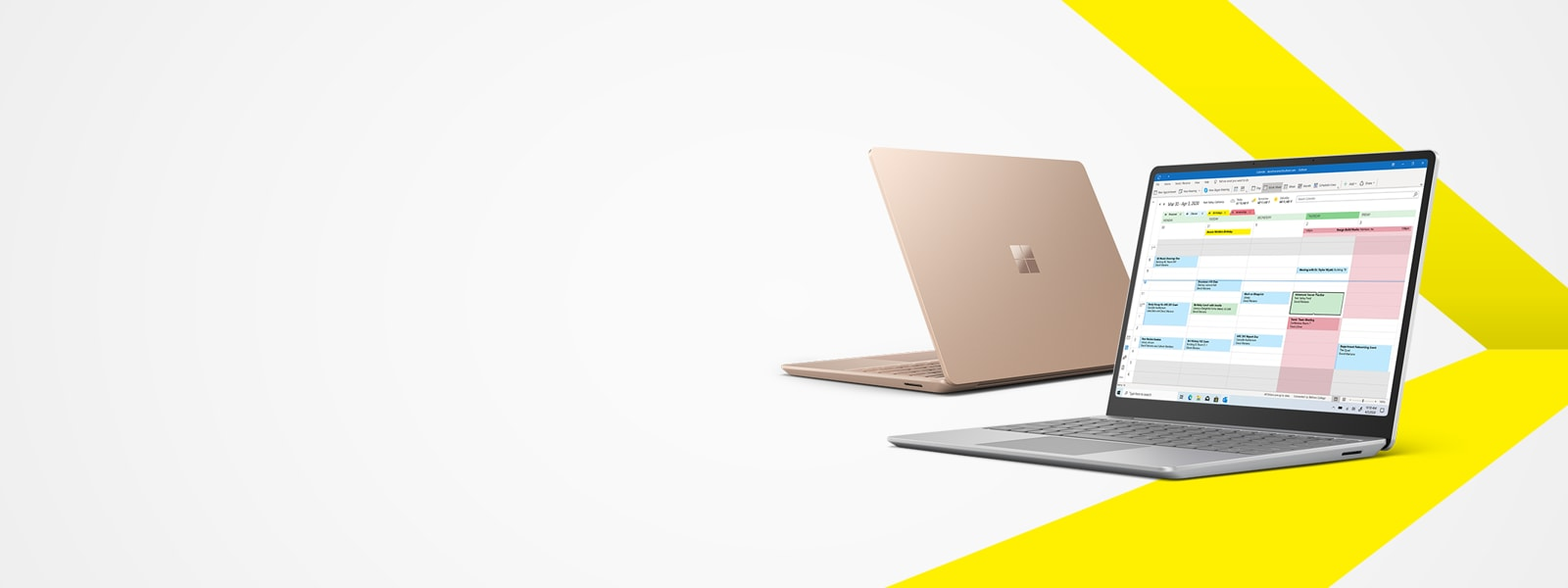 Surface Laptop Go Platinum and Sandstone