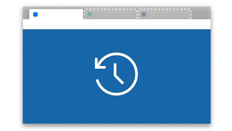 Um ícone de uma página Web com um temporizador