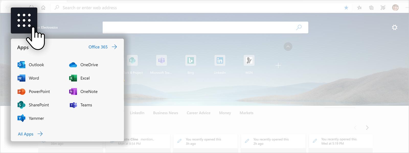 Captura de ecrã de uma página principal do browser Edge a apresentar o iniciador de aplicações do M365