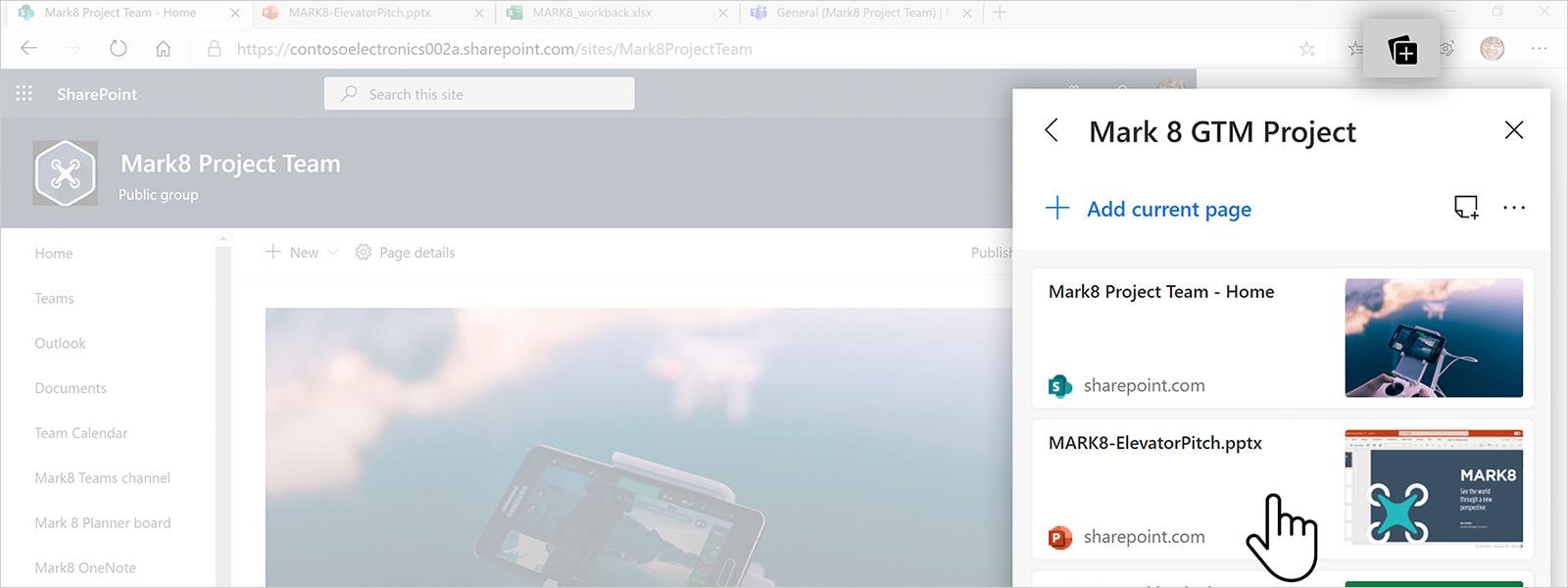 Captura de ecrã de uma página do browser Edge com o separador coleções aberto