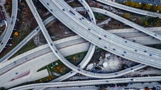 An overhead view of many highways intersecting.