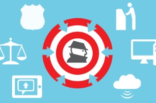 Graphic with a bad actor in the middle surrounded by red and white circular bands and arrows, outside the circles are six symbols including a shield, a scale, a mobile device, the cloud, a desktop computer, a person at a kiosk like an ATM