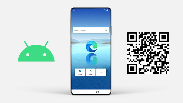 Android-logo ved siden af Android-telefon med Microsoft Edge på skærmen og en QR-kode.