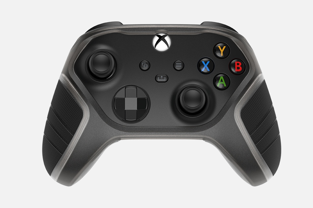 An Xbox controller featuring swappable grip pads.