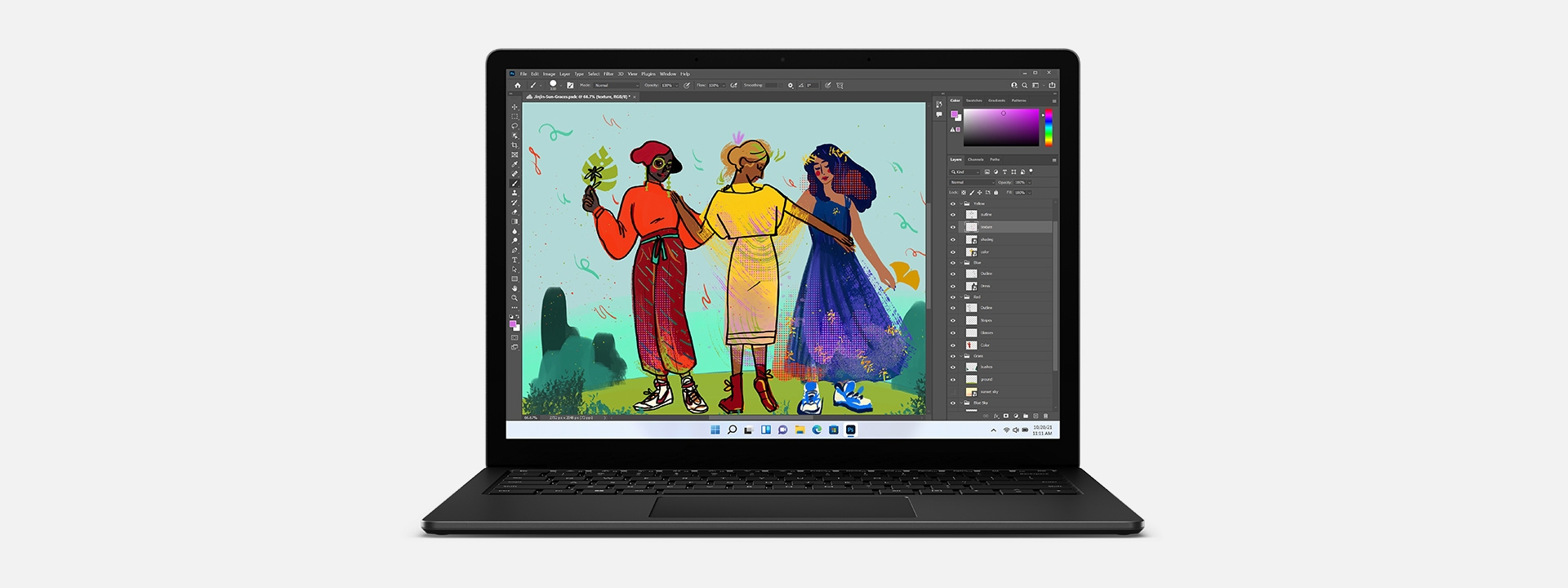 A front view of matte black Surface Laptop 4 running Adobe premiere