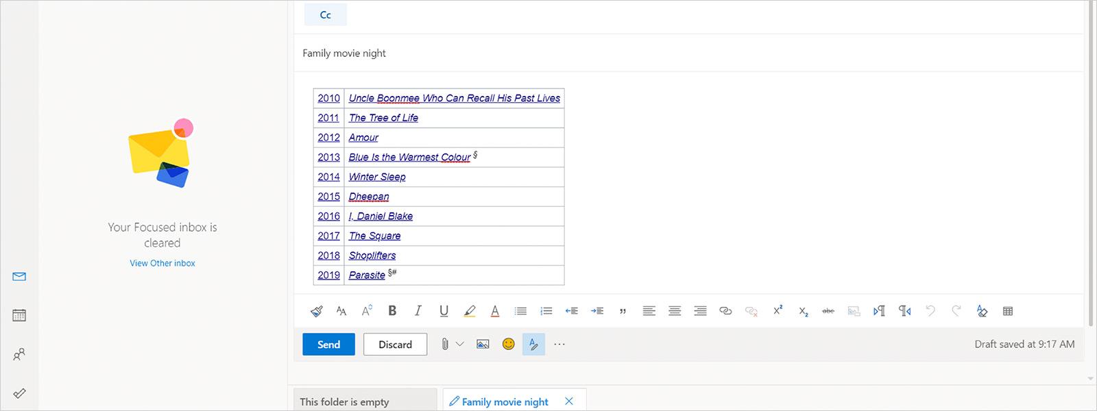 Captura de ecrã do Microsoft Outlook com conteúdos copiados.