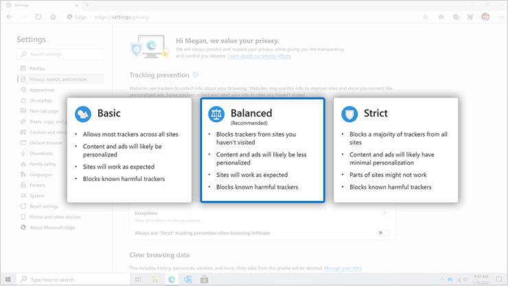 Captura de ecrã de uma página do browser Edge a apresentar as definições de controlo