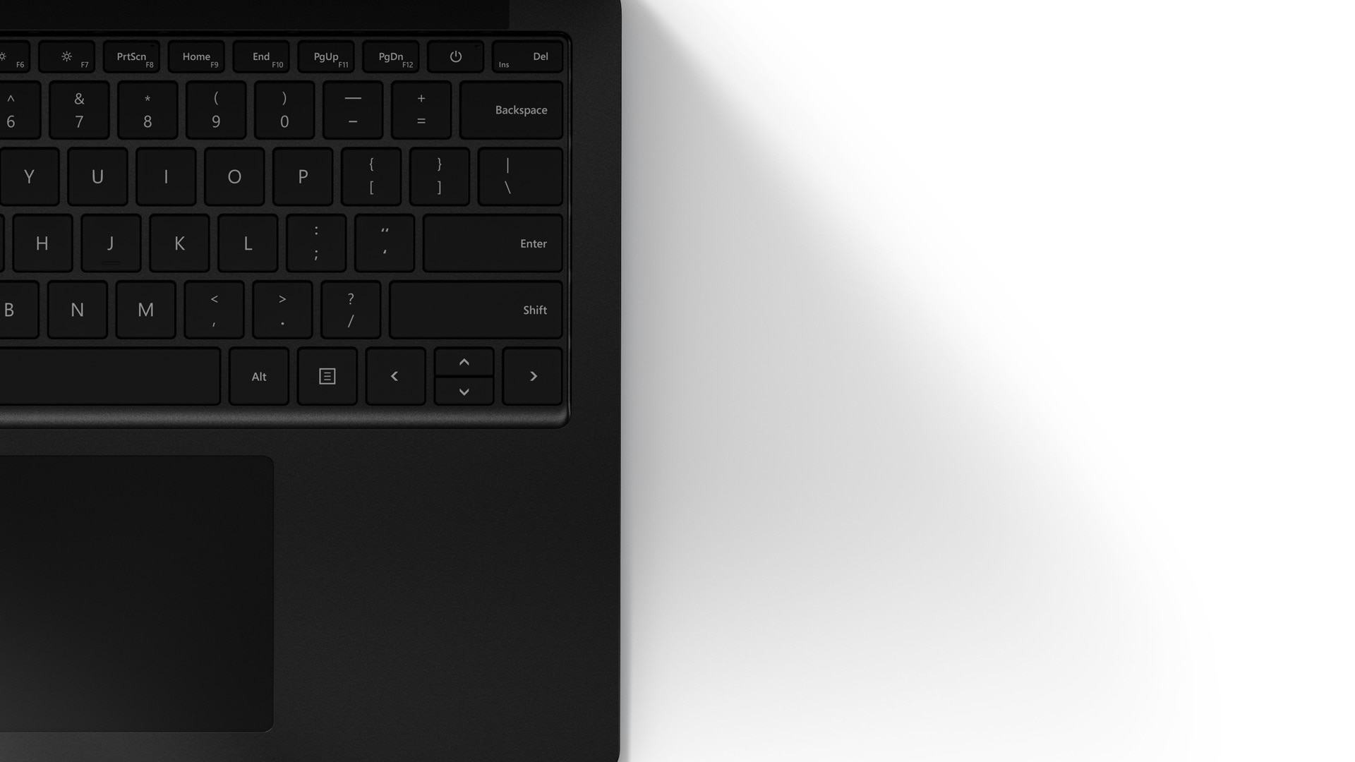 A close-up of Surface Laptop 4 smooth matte Black metal finish