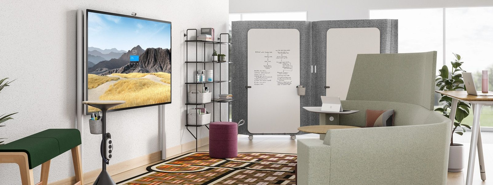 A Surface HUB 2S 85'' on the Floor Supported Wall Mount in an office setting.