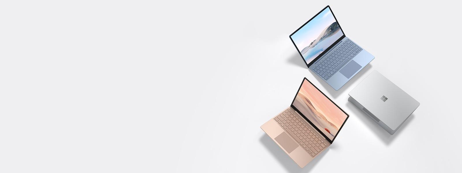 Surface Laptop Go in Platin, Eisblau, Sandstein