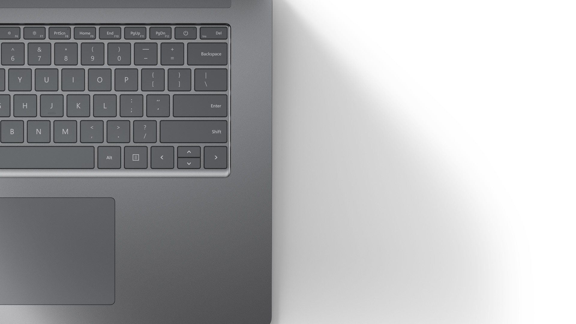 A close-up of Surface Laptop 4 smooth Platinum metal finish