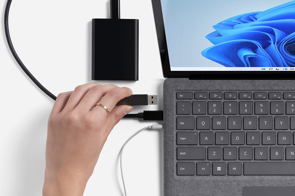 A close-up of the various types of ports available on Surface Laptop 4