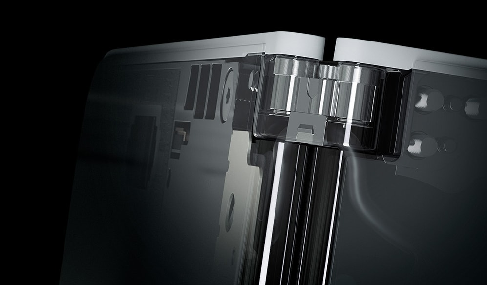 Close-up view of Surface Duo hinge.