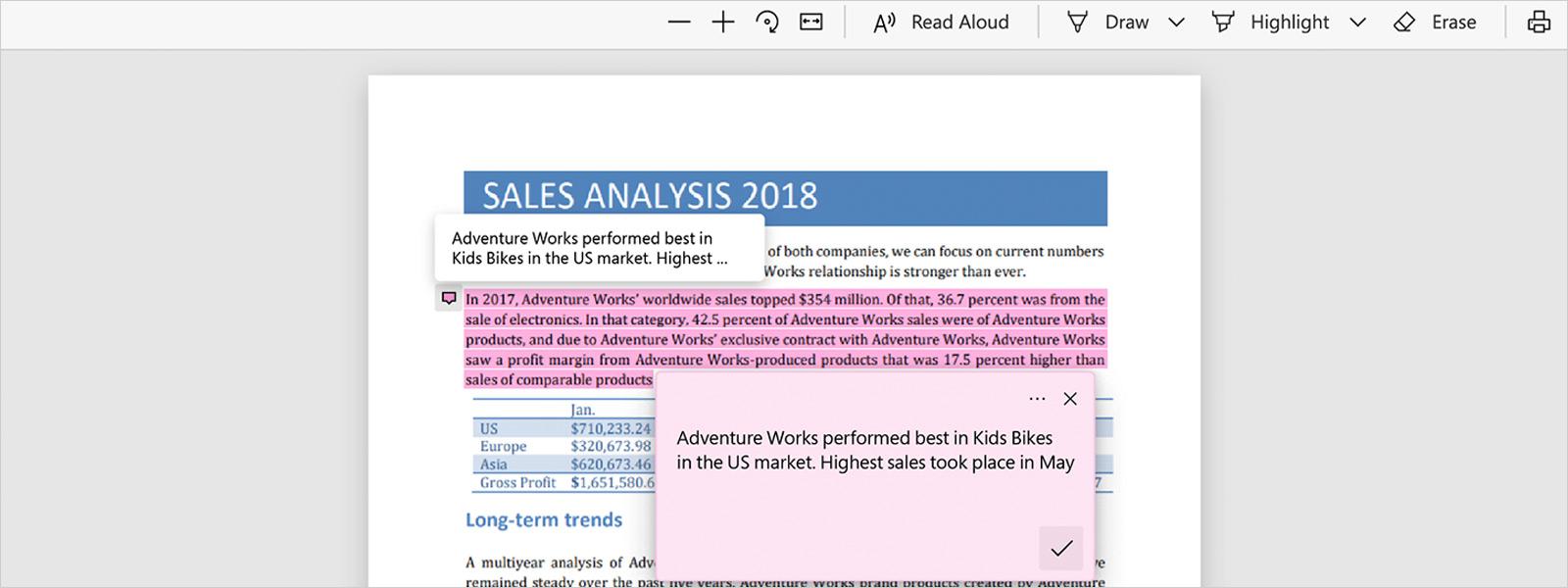 Captura de ecrã da ferramenta de PDFs do Microsoft Edge.