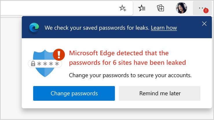 Captura de ecrã de uma página do browser Edge a apresentar as definições de palavra-passe