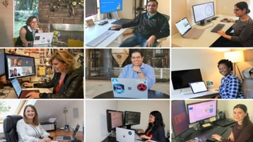 A collage of photos of Microsoft employees working from home.