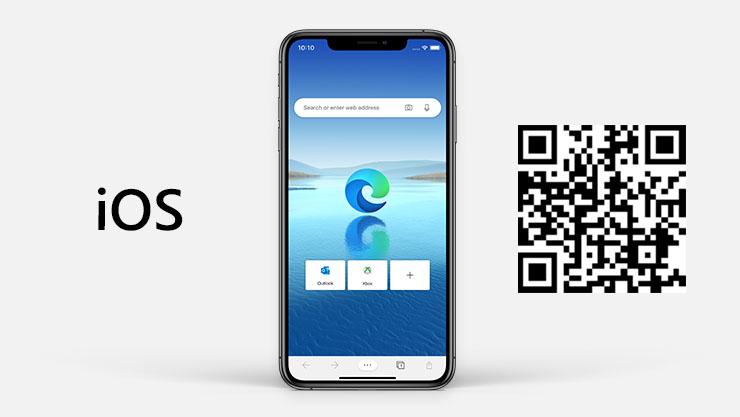 : iOS-logo ved siden af iPhone med Microsoft Edge på skærmen og en QR-kode.