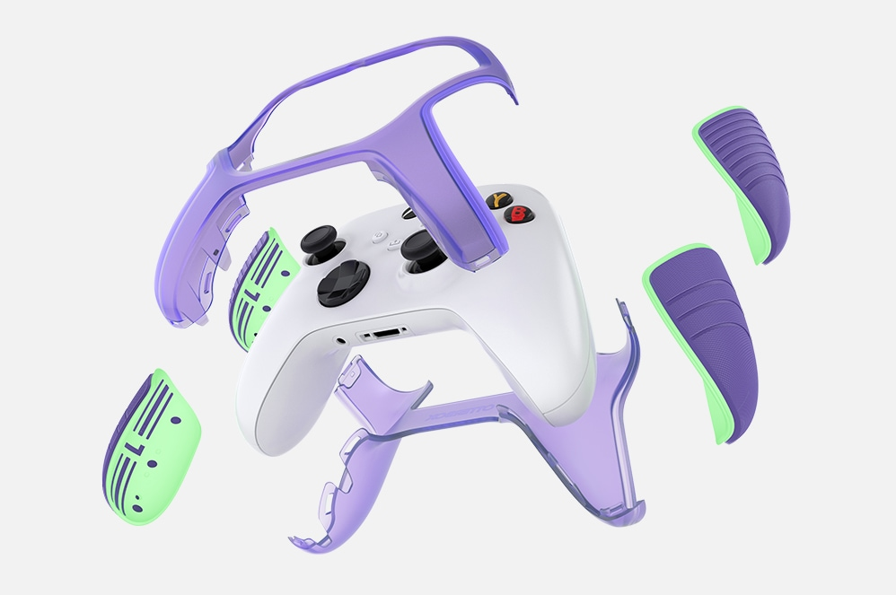 An Xbox controller featuring the flexible design that pops on and off.
