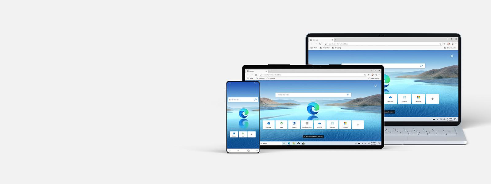 Uma coleção de dispositivos com ecrãs do browser Microsoft Edge