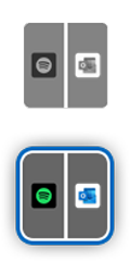 Surface Duo icon with Spotify on one side and Outlook on the other.