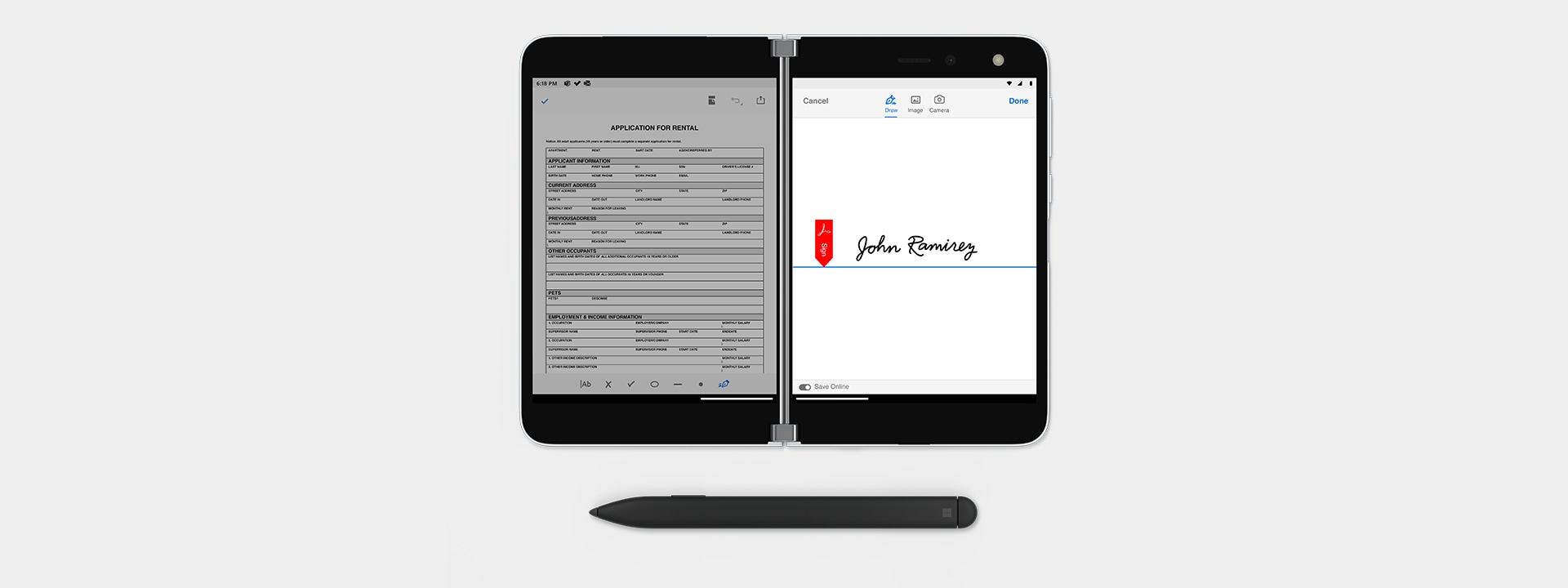Surface Duo showing an application on the left side of the screen, a signature on the right, and a touch pen below.
