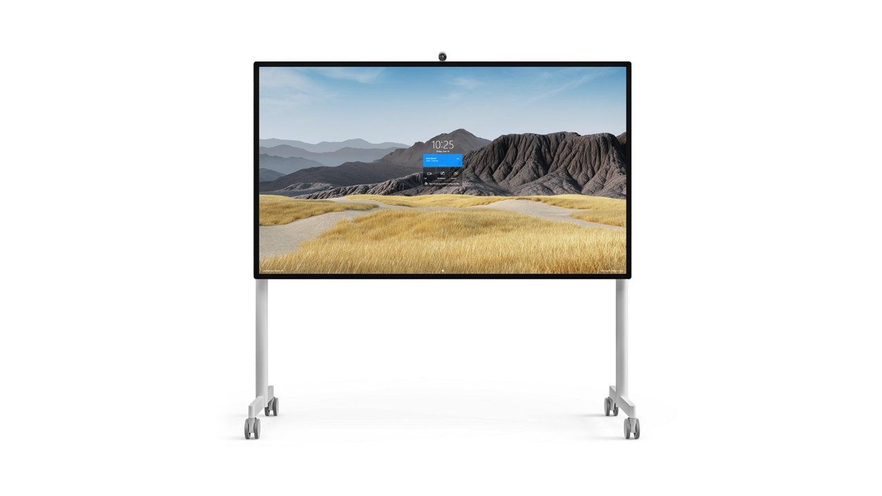 Surface HUB 2S 85'' on a mobile stand.