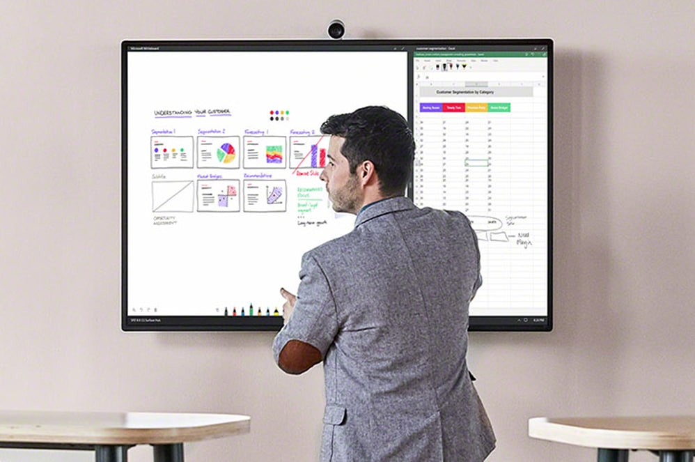 A person uses the full functionality of the Whiteboard feature Surface HUB 2S.