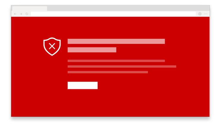 Um ícone de uma página Web com um fundo vermelho
