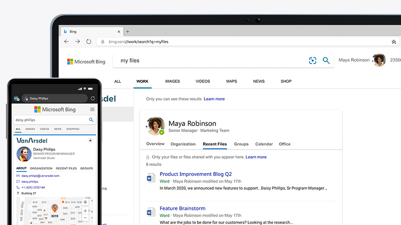 A laptop and mobile phone screen side-by-side, displaying the Microsoft Edge browser in Bing.