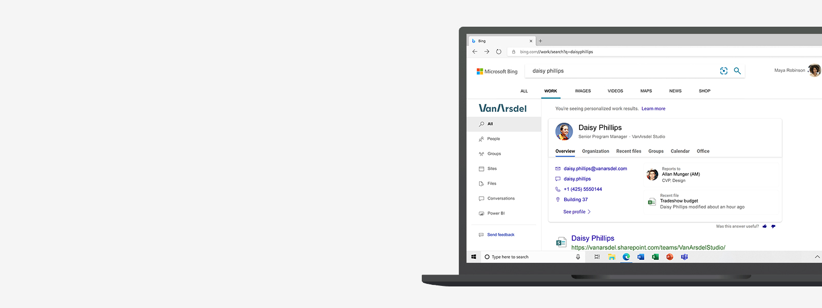 Laptop with a Microsoft Search in Bing results page on the screen.