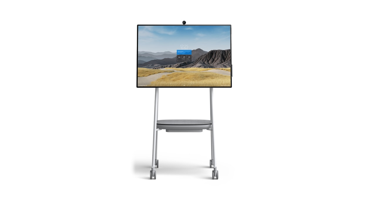 Surface HUB 2S 50'' on a mobile stand.