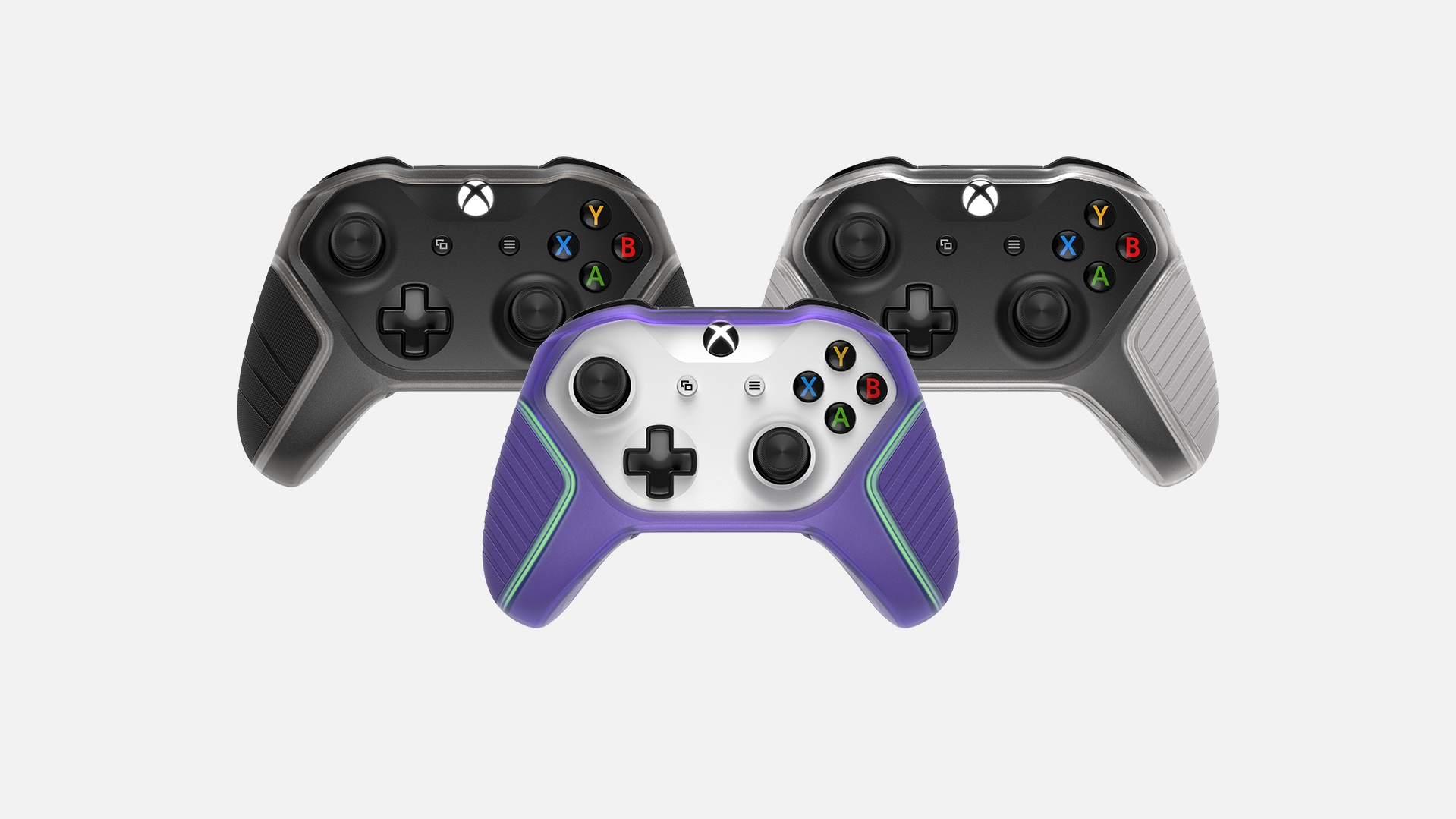 Three Xbox controllers featuring the Otterbox Easy Grip Controller Shell