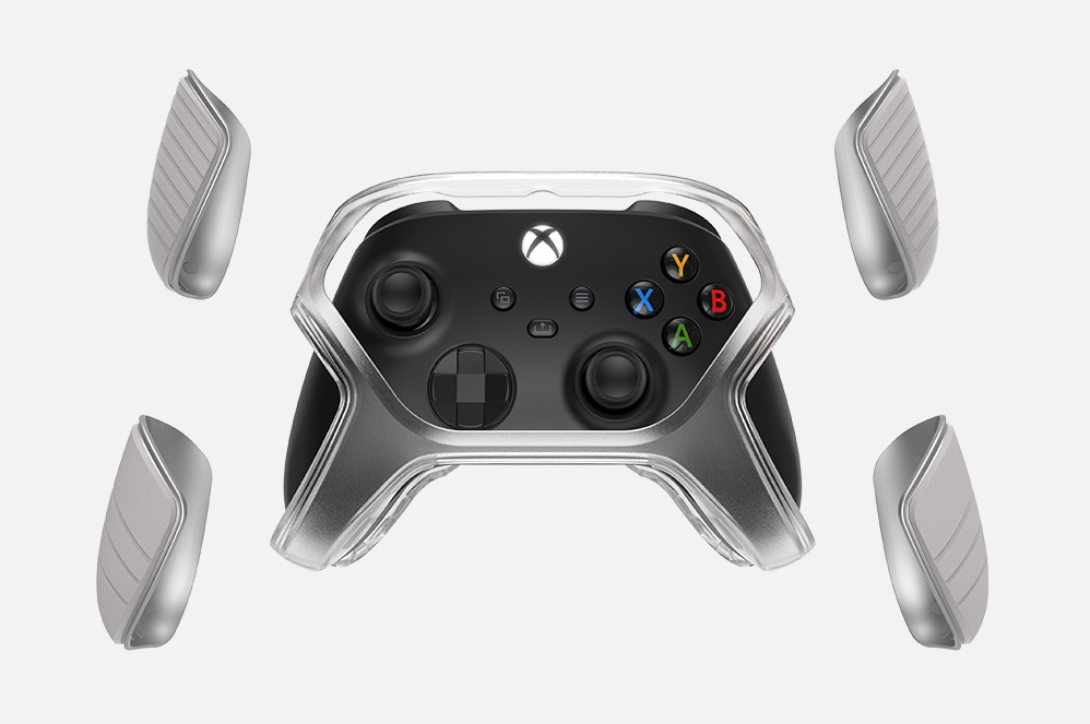 An Xbox controller with protection shields.