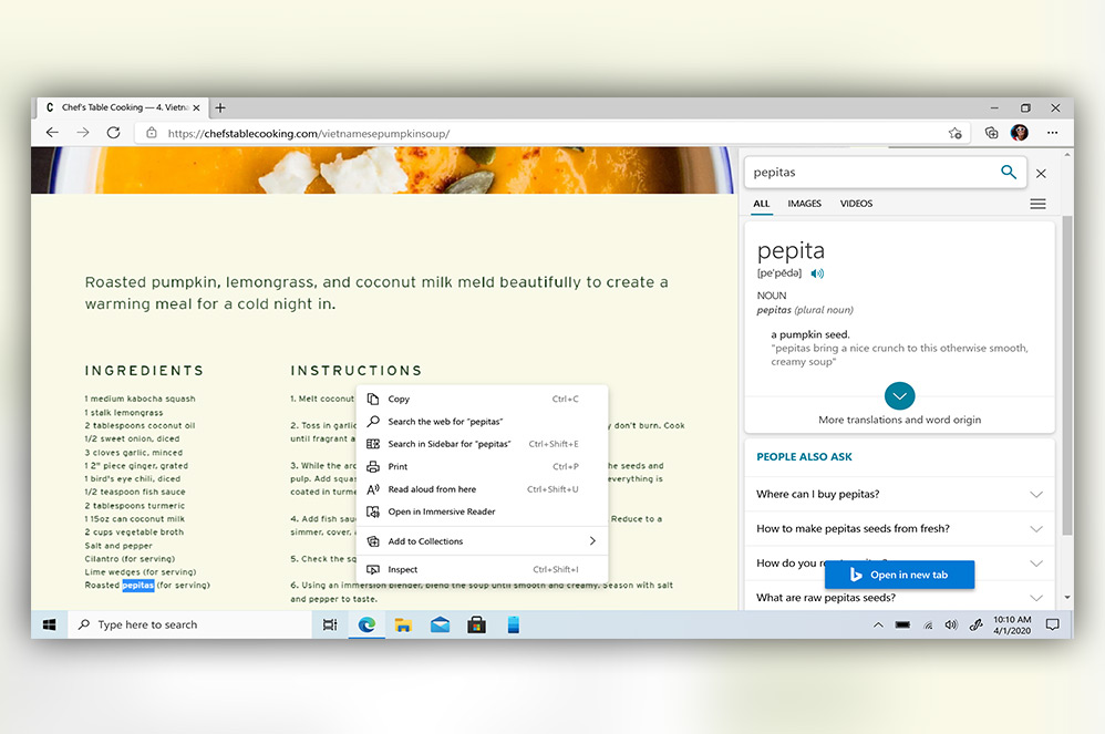 Web page showing sidebar search feature in Microsoft Edge browser