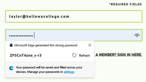 Password generator dialog box